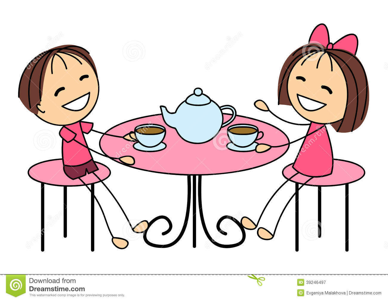 Cute Little Kids Drinking Tea Stock Vector - Image: 39246497