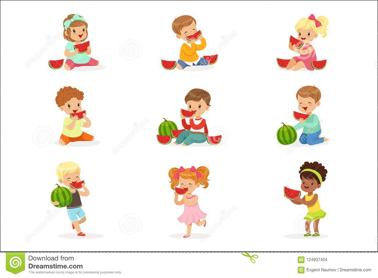 8b7f60474 Cute Little Kids Eating Watermelon. Healthy Eating