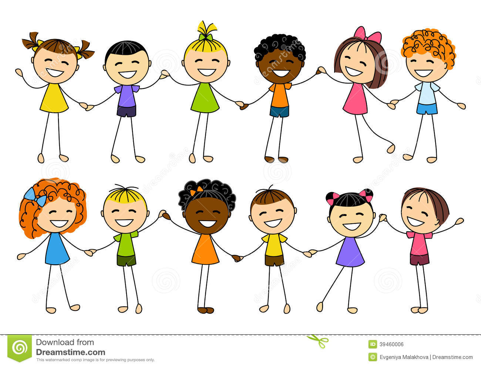 Cute Little Kids Holding Hands Stock Vector