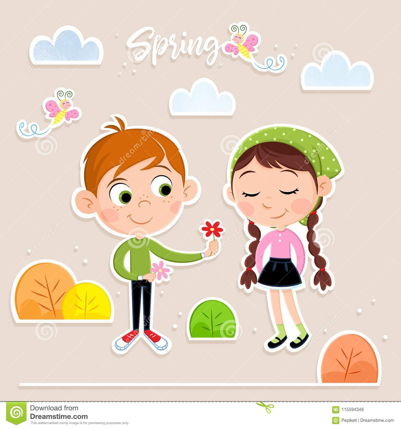 Cute Little Kids Love Is In The Air Spring Time Isolated