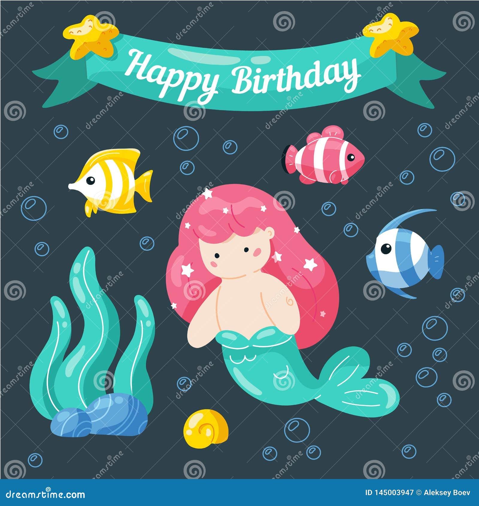 Cute little mermaid birthday card. Marine life cartoon characters in cute doodle style. Birthday card template