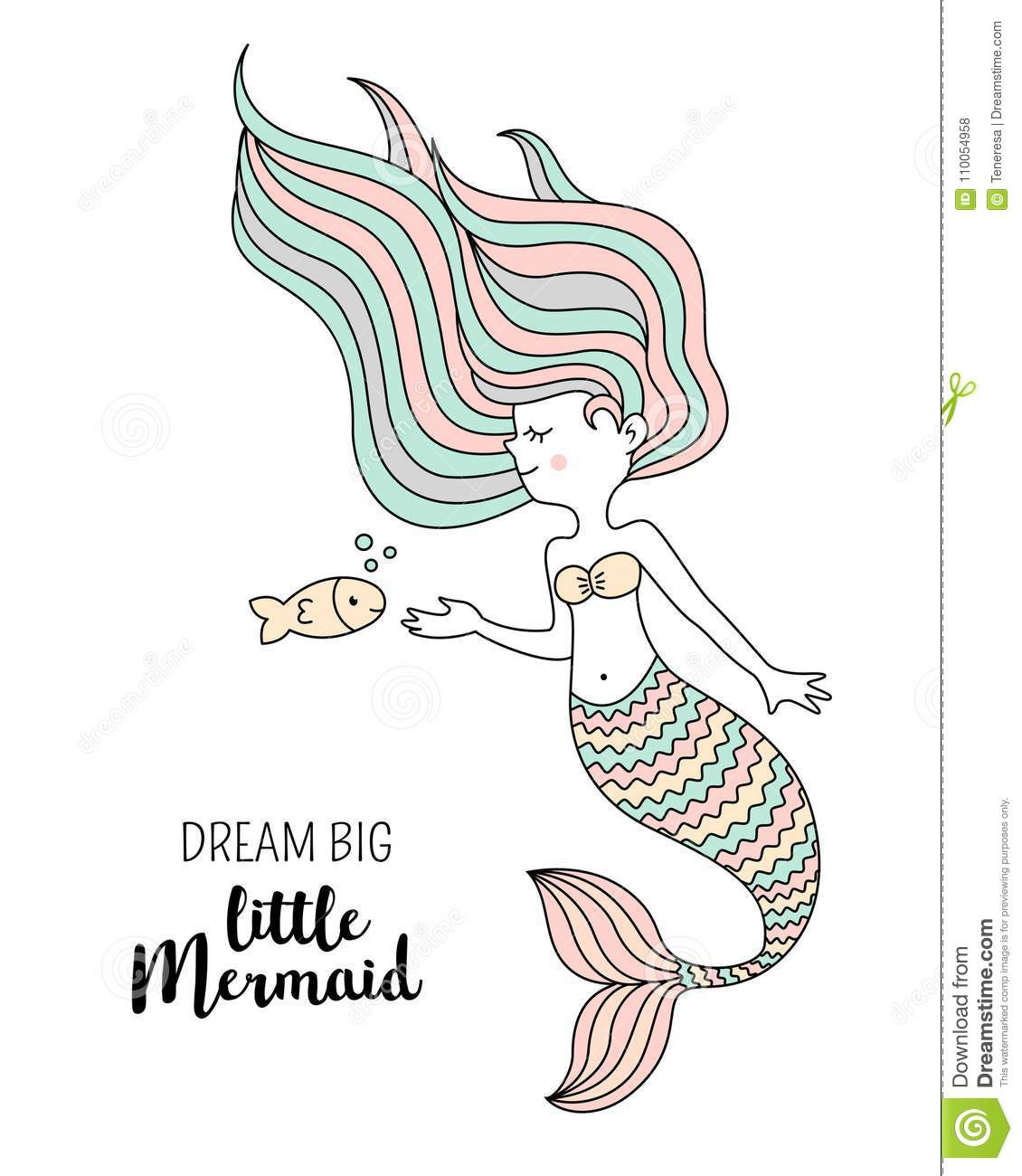 Cute Little Mermaid With Fish. Under The Sea Vector ...