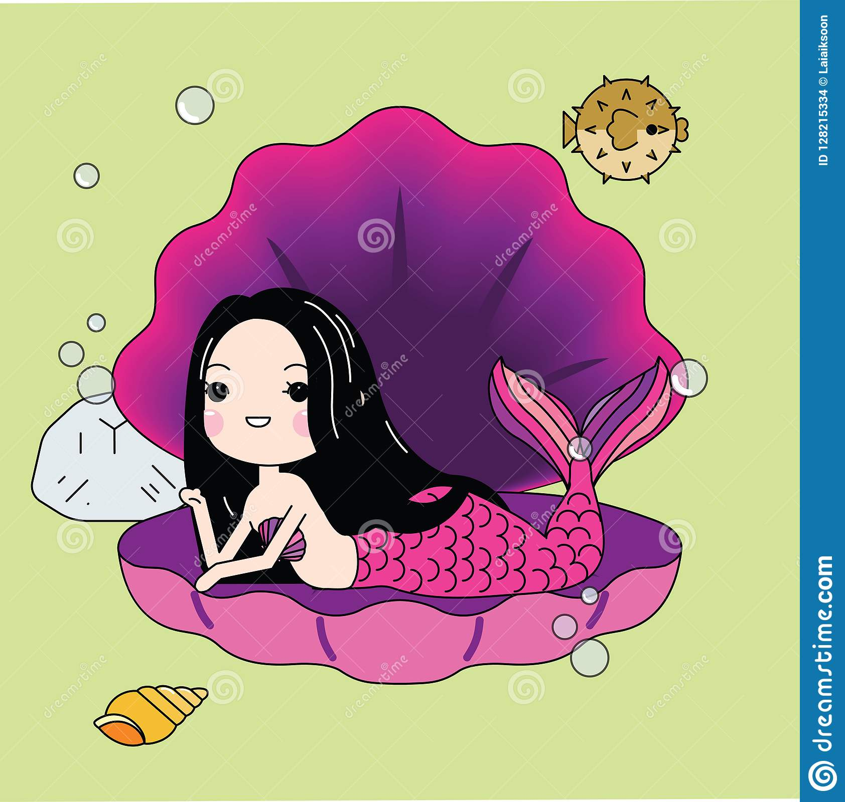 Vector Cute Little Mermaid Under The Sea Cartoon Illustration Royalty Free  Cliparts, Vectors, And Stock Illustration. Image 111398356.
