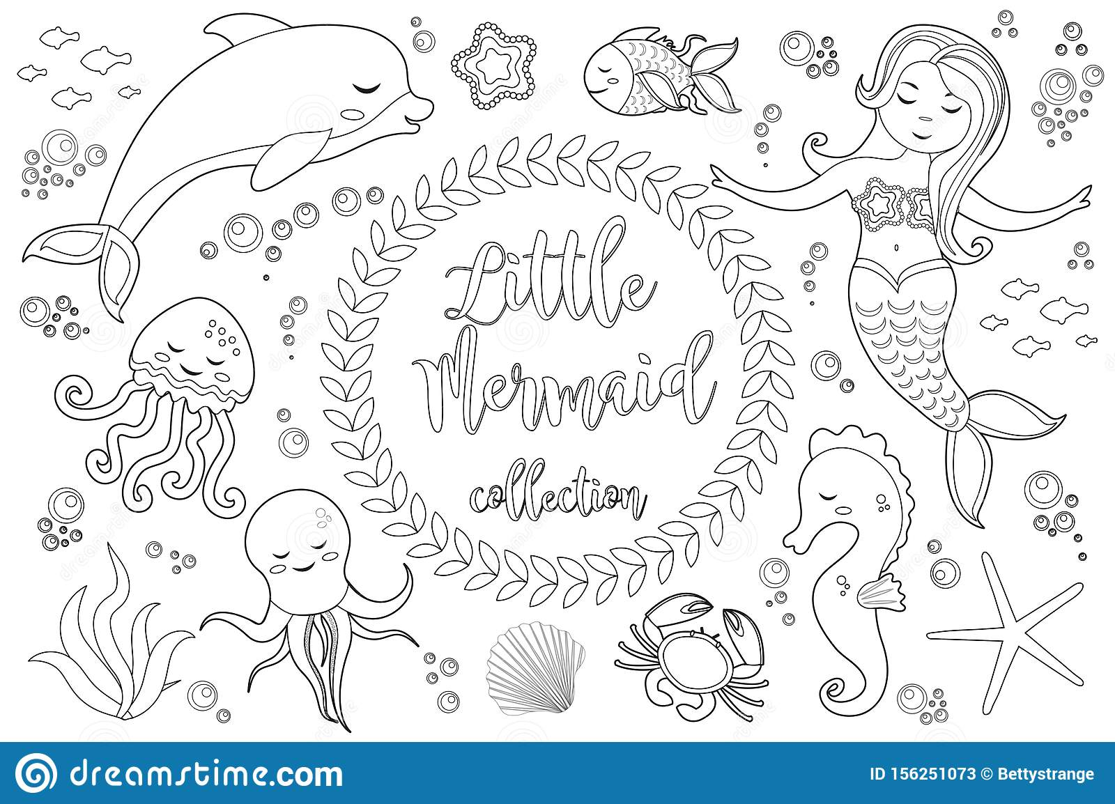 Little Mermaid Coloring Page coloring page & book for kids. | 1154x1600
