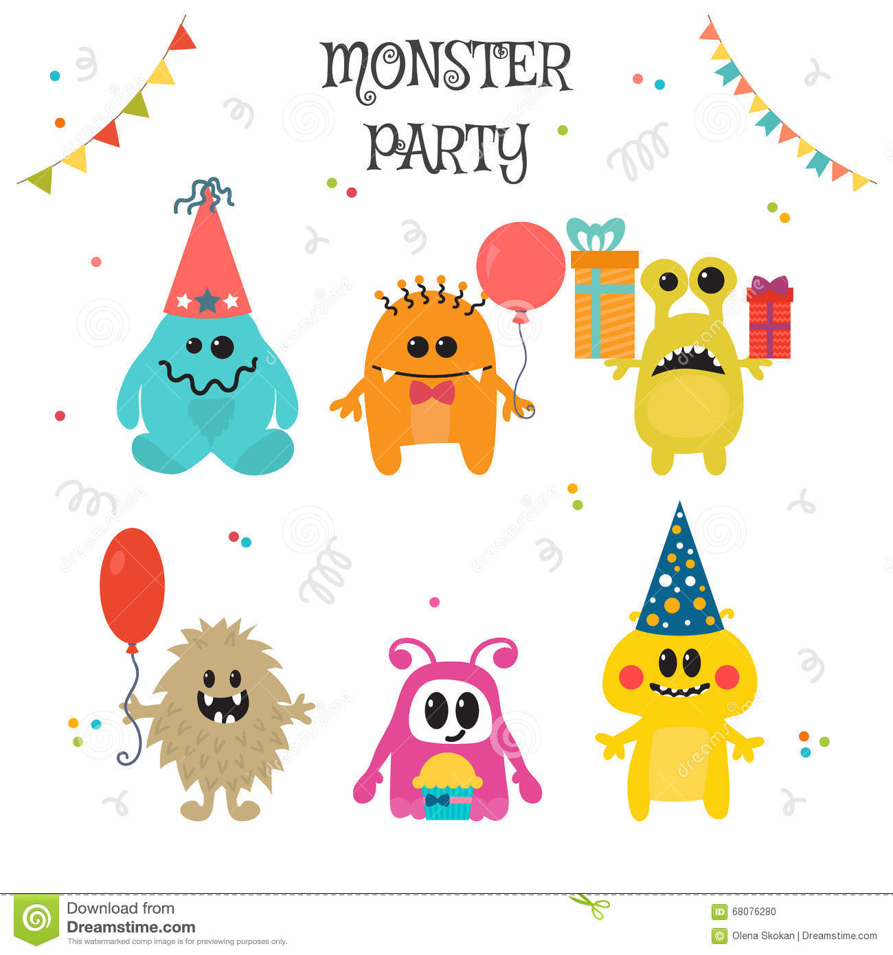 Cute Little Monsters Birthday Party Stock Vector - Illustration of ...