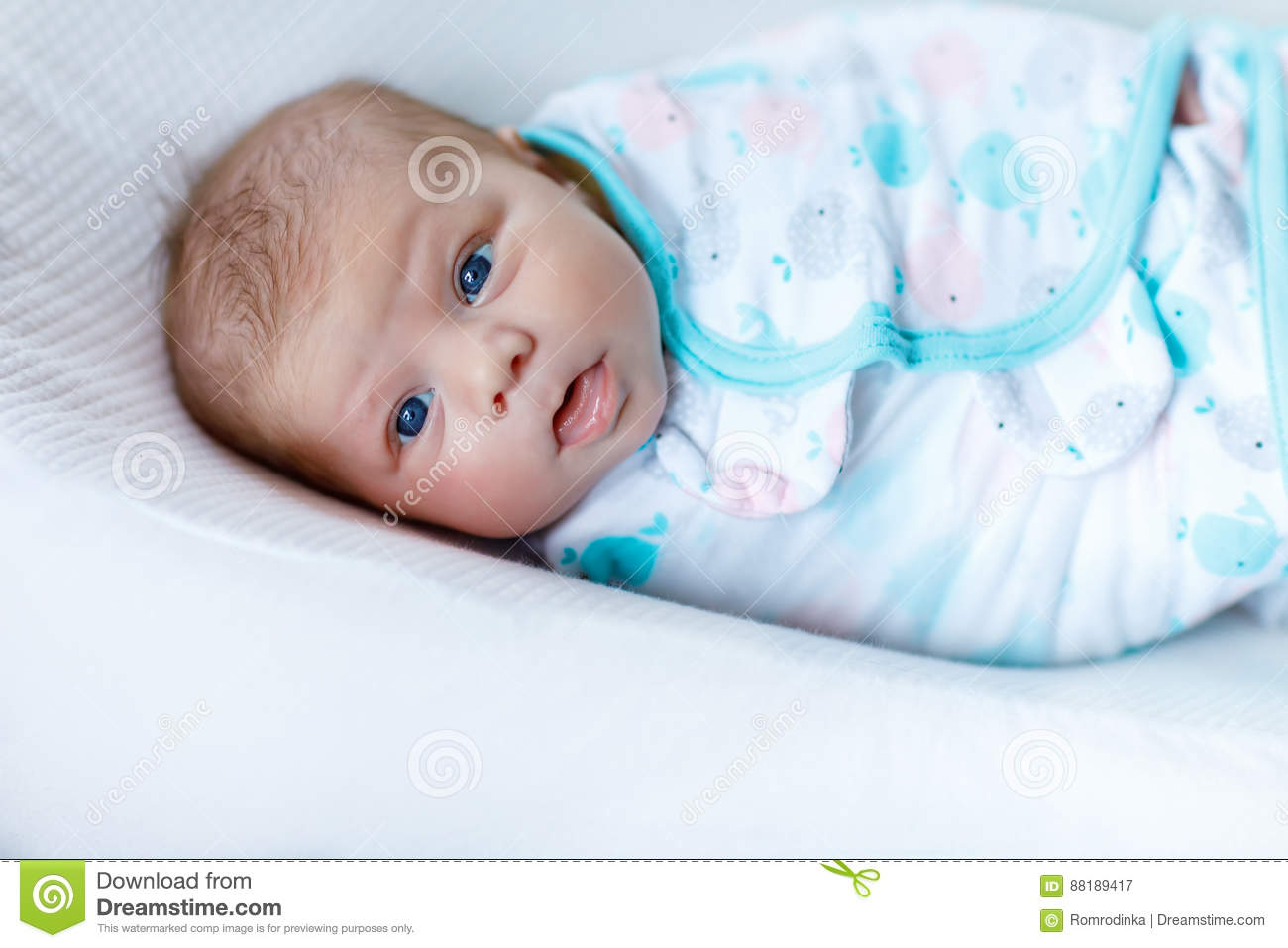 Cute Little Newborn Baby Girl Wrapped In Blanket Stock Image Image