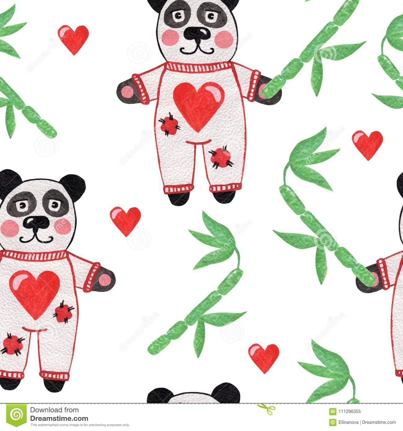 Cute little panda with bamboo and heart seamless pattern