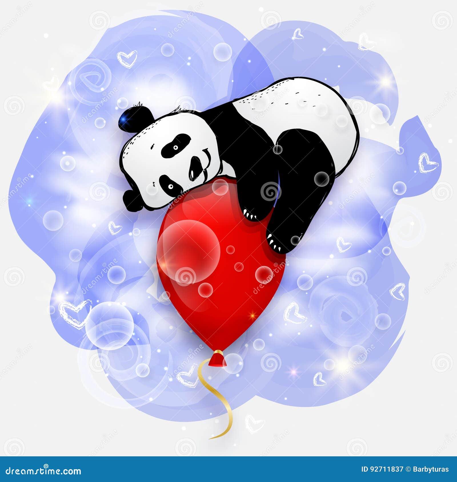 Cute little panda on red air balloon, birthday card illustration