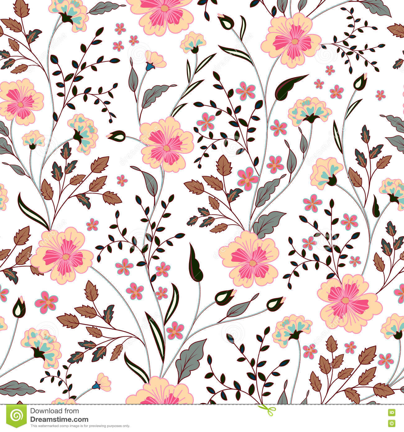 Download Cute Little Pink Flowers Seamless Pattern Background. Vector Stock Vector - Illustration of beige, abstract: 73701090