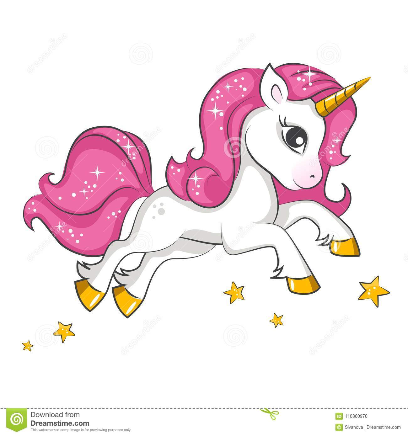 ccd5f56e9 Cute little pink magical unicorn. Vector design on white background. Print  for t-shirt. Romantic hand drawing illustration for children.