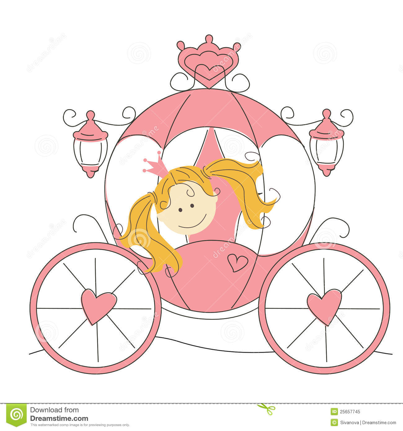 Cute little princess in the carriage stock vector image for Small princess