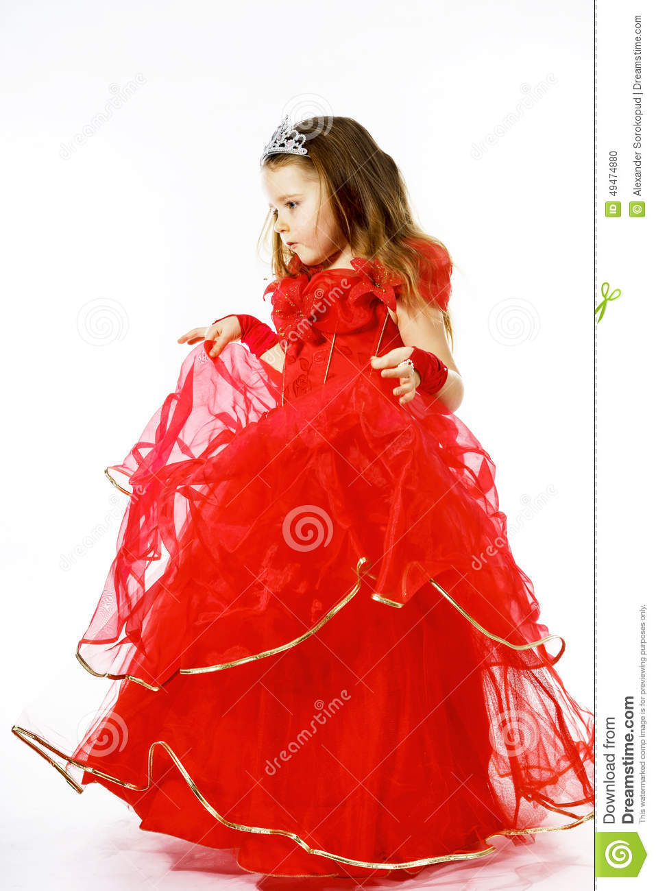 ea181f18d19a Cute Little Princess Dressed In Red With Crown On Her Head Posi ...
