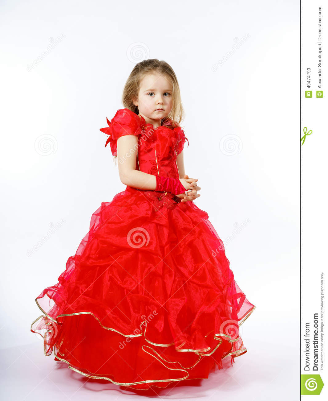 Cute little princess dressed in red dancing isolated on for Small princess
