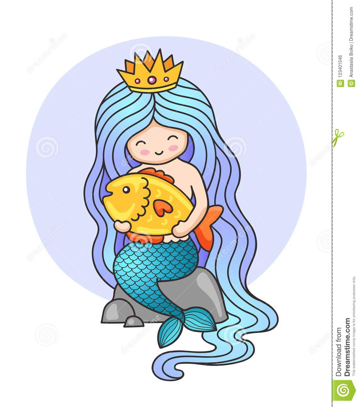 Cute little princess mermaid, sitting on a rock, holding big golden fish.