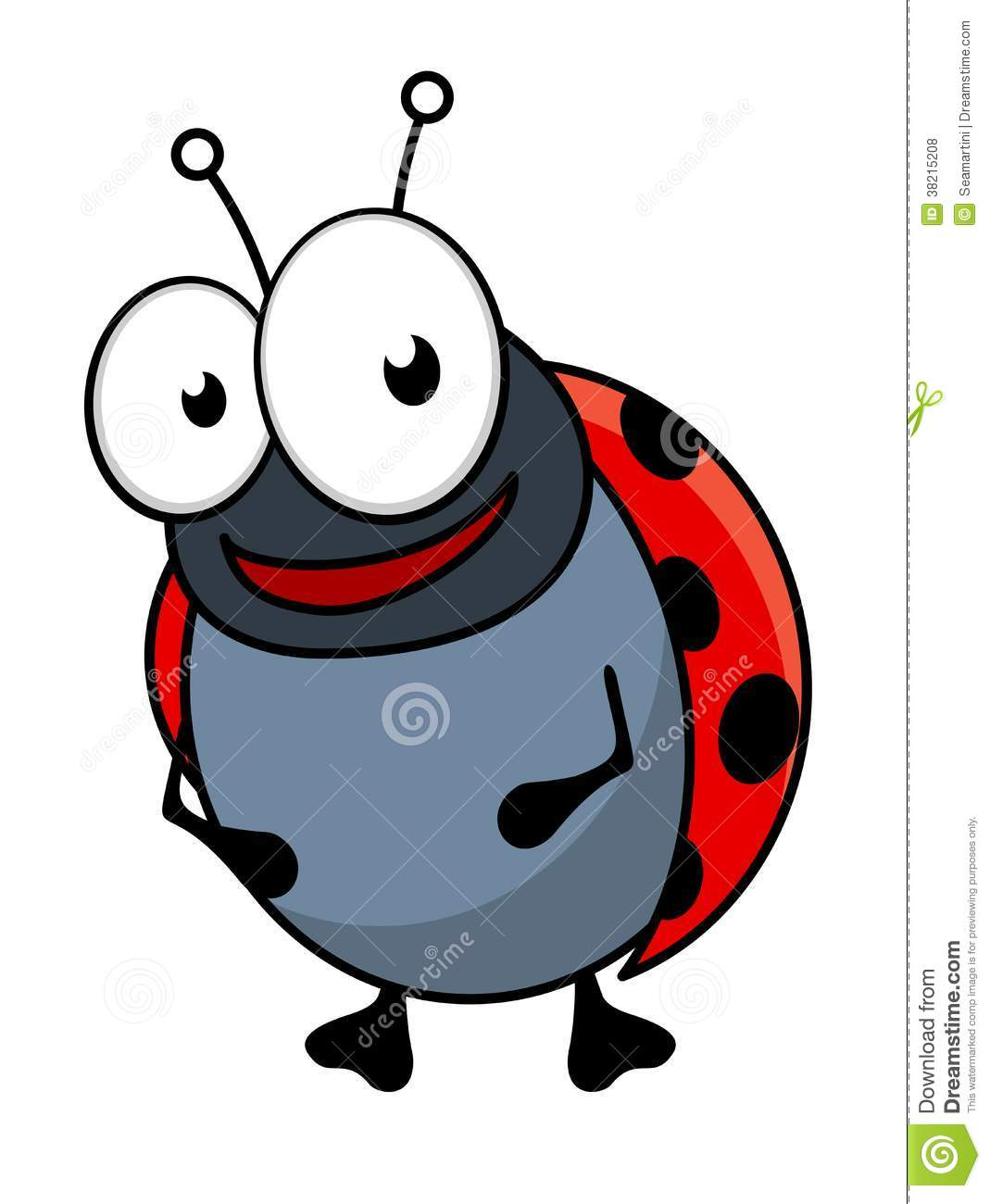 Cute Little Red Ladybug Cartoon Character Stock Vector