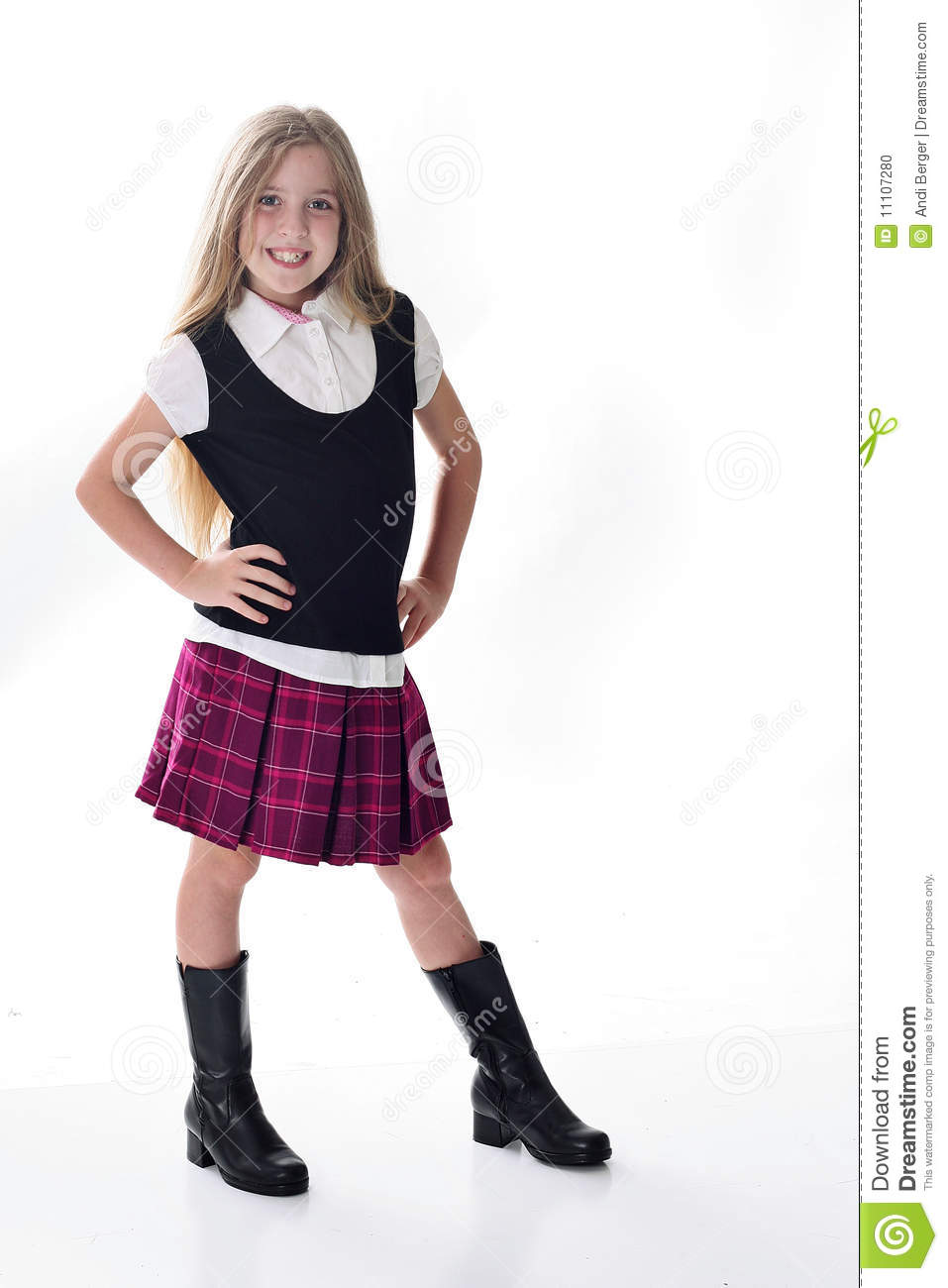8cdf36bd022b Cute Little School Girl In Purple Stock Photo - Image of face, boots ...
