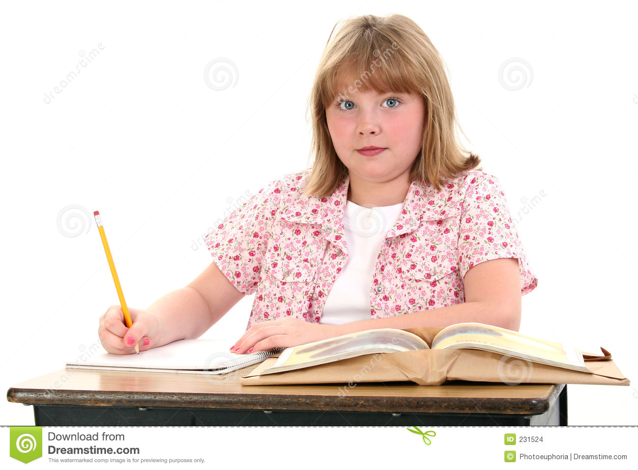 Cute little school girl sitting in desk with books stock photo image 231524 - Desk girl image in ...