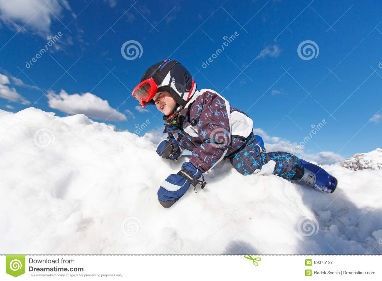 c63a469a8910 Cute little skier. stock image. Image of happy