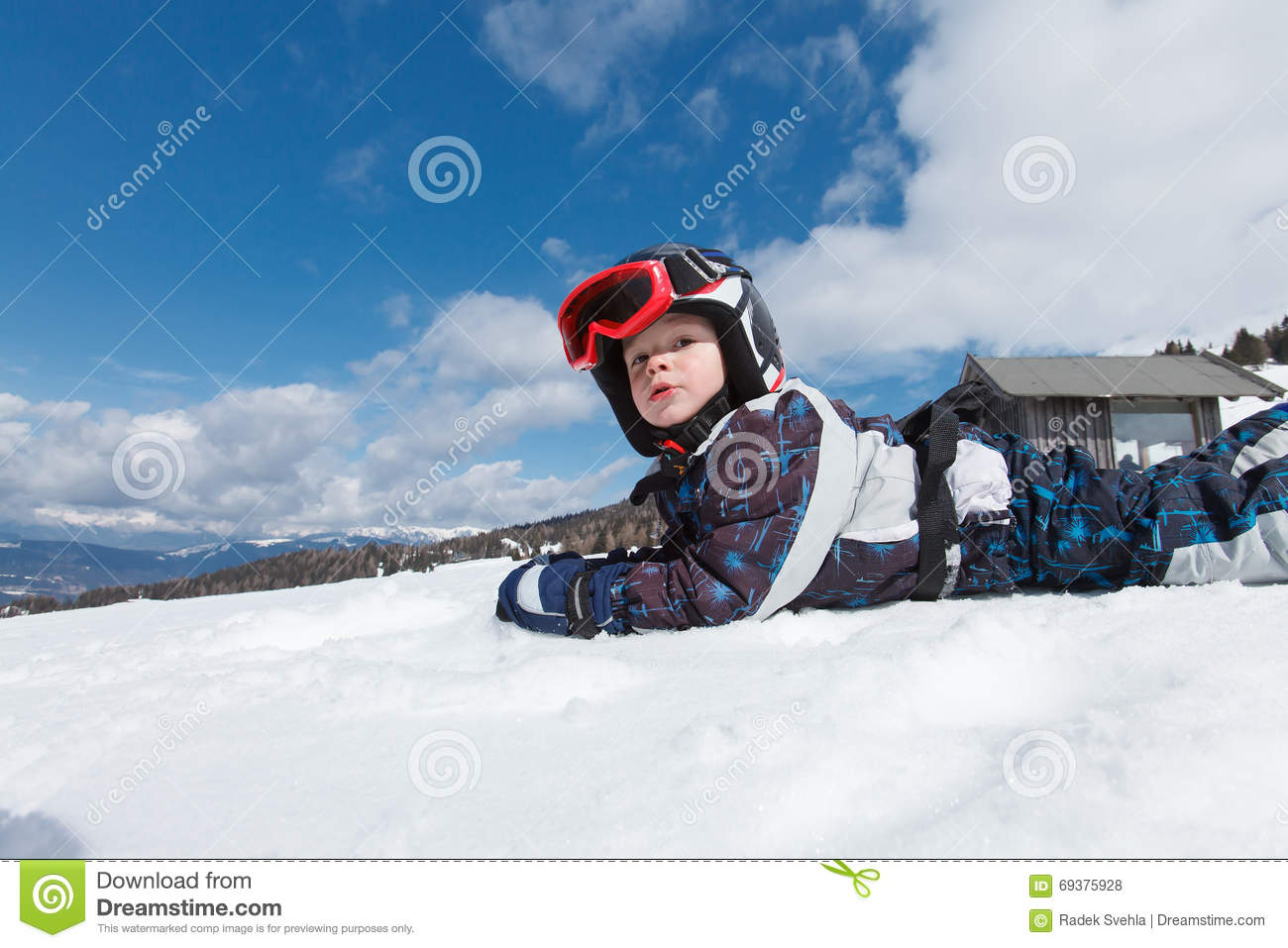 6efc598642ad Cute little skier. stock photo. Image of blue