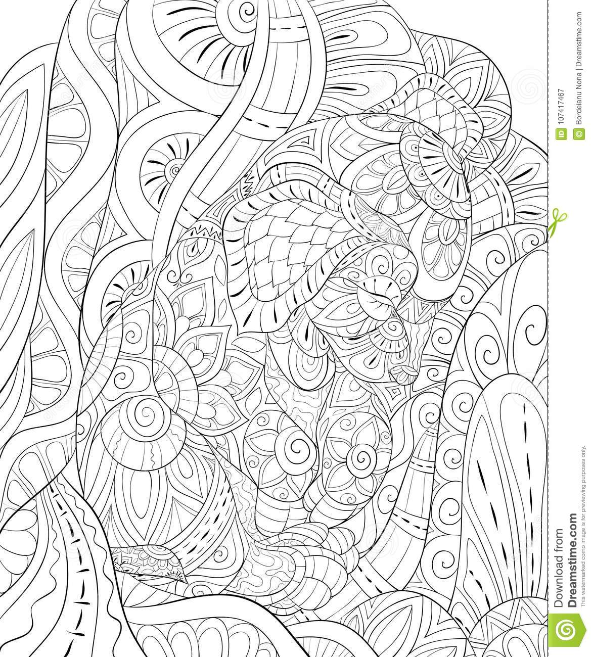 Adult Coloring Bookpage A Cute Little Sleep Dog On The Abstract Background For RelaxingZen Art Style Illustration