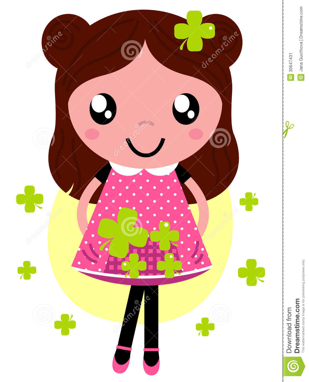 Jana Only Sweet Girls: Cute Little Spring Girl With Four Stock Vector