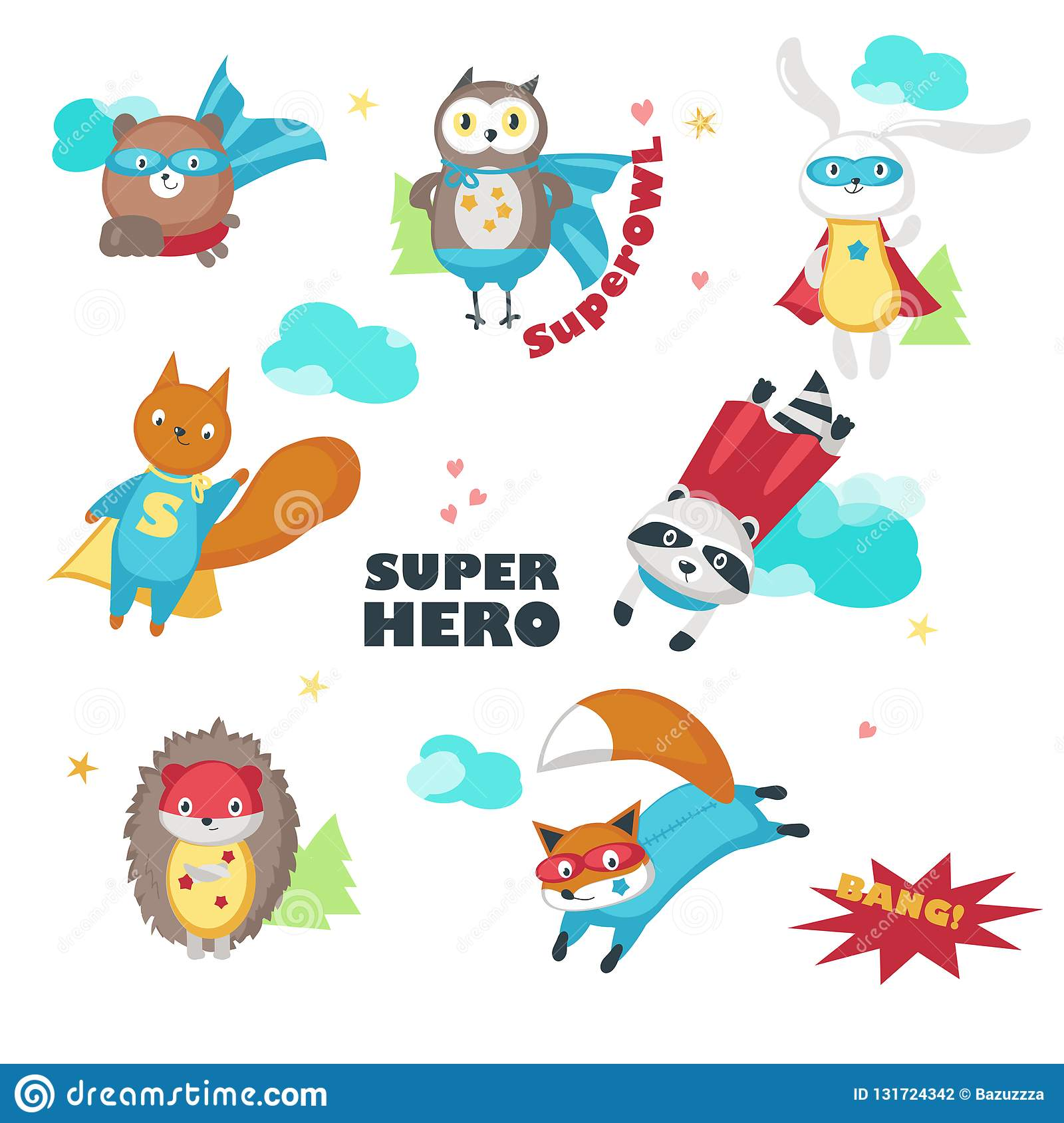 Superhero animals vector illustration isolated on white background cute little raccoon rabbit bear owl fox squirrel and hedgehog in super hero