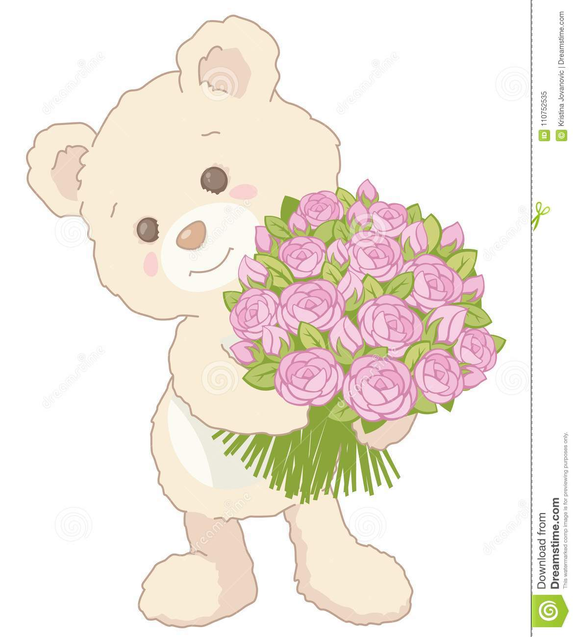 Cute Little Teddy Bear Holding A Bouquet Of Pink Roses Vintage Style