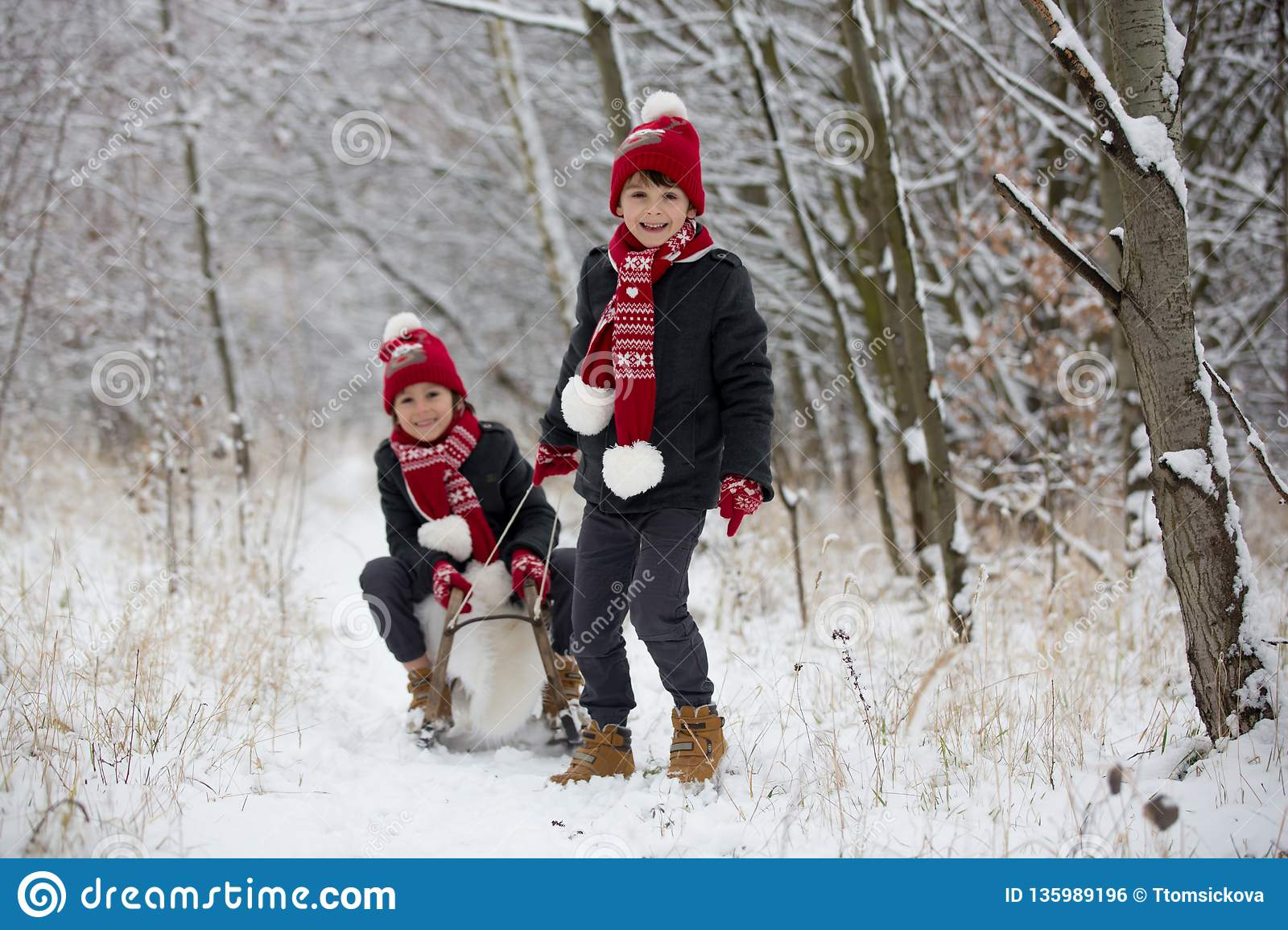 Cute little toddler boy and his older brothers, playing outdoors with snow on a winter day
