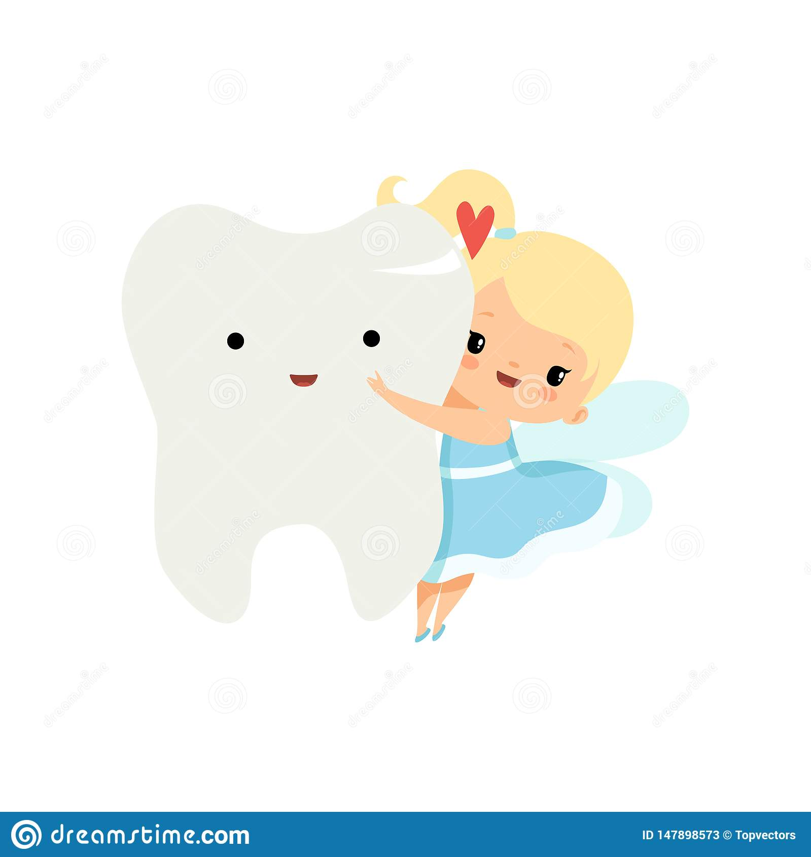Cute Little Tooth Fairy Flying with Big Tooth, Lovely Blonde Fairy Girl Cartoon Character in Light Blue Dress with Wings