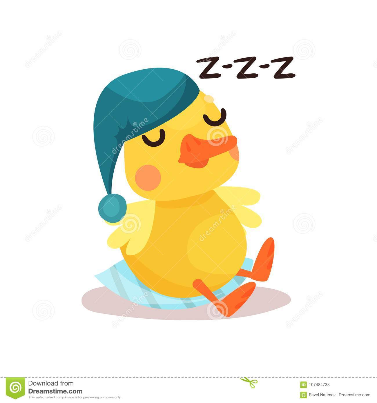cute little yellow duck chick character in a blue hat sleeping