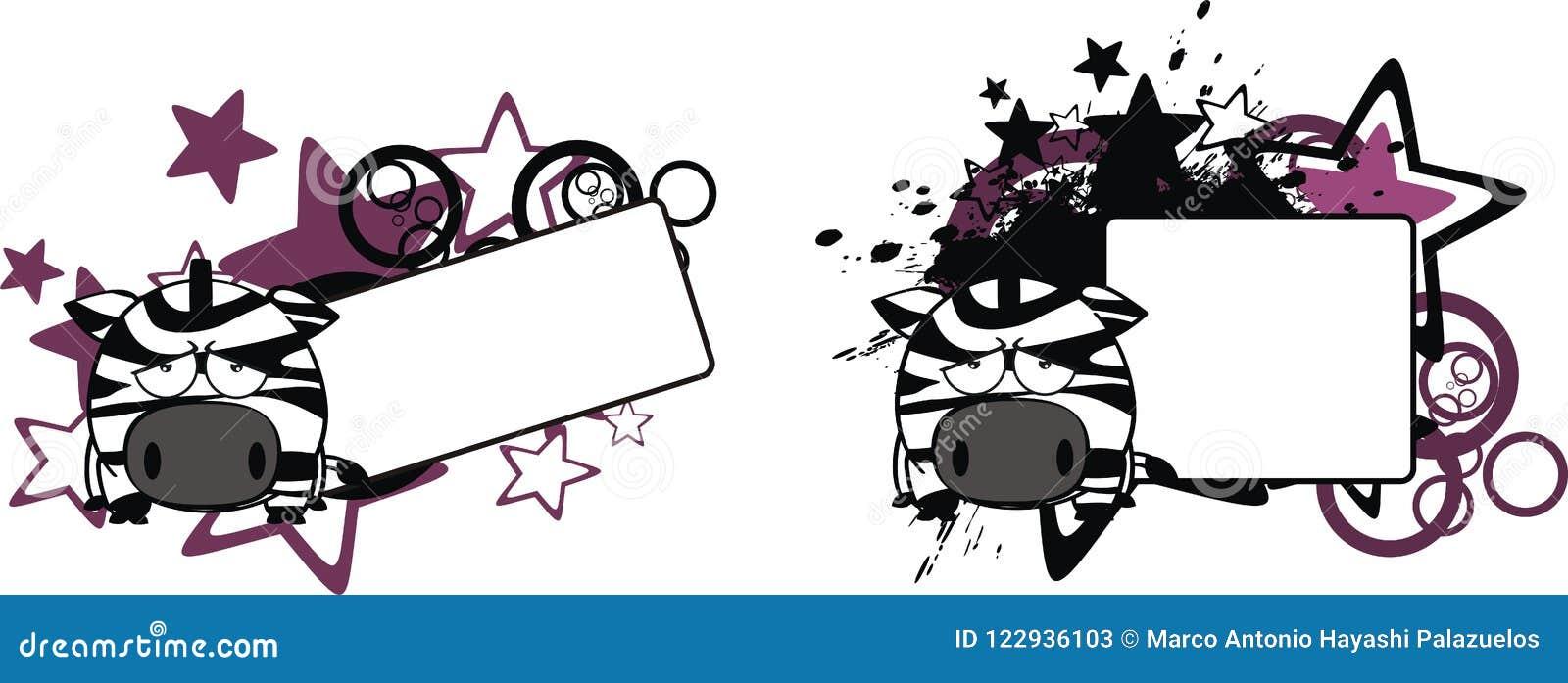 Sad Little Zebra Cartoon Copy Space Stock Vector Illustration Of