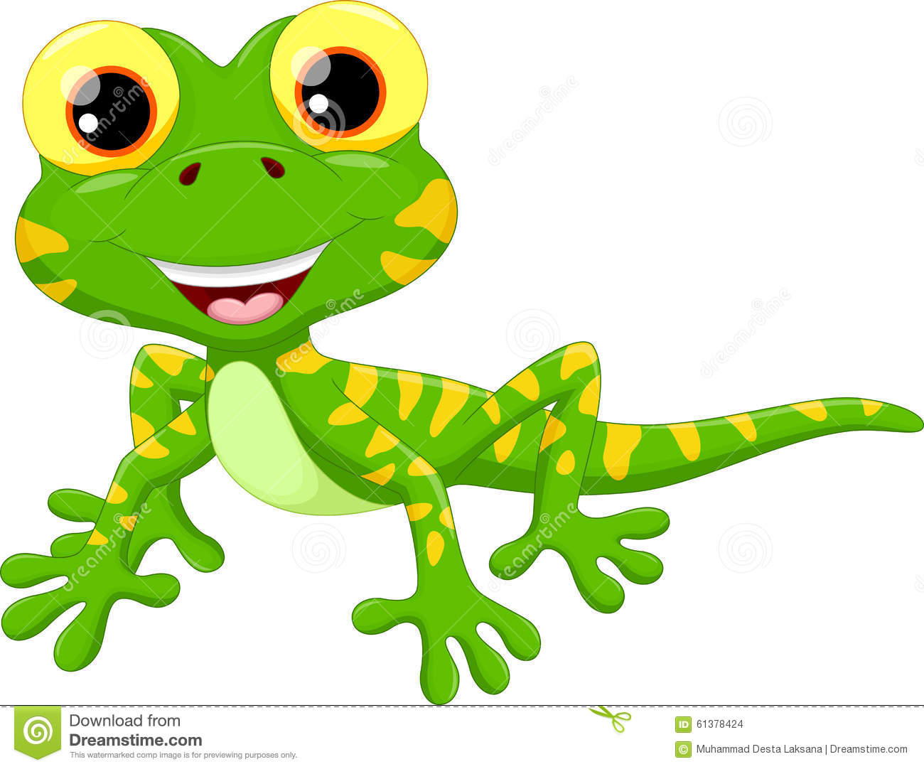 Cute Lizard Cartoon Stock Illustration - Image: 61378424
