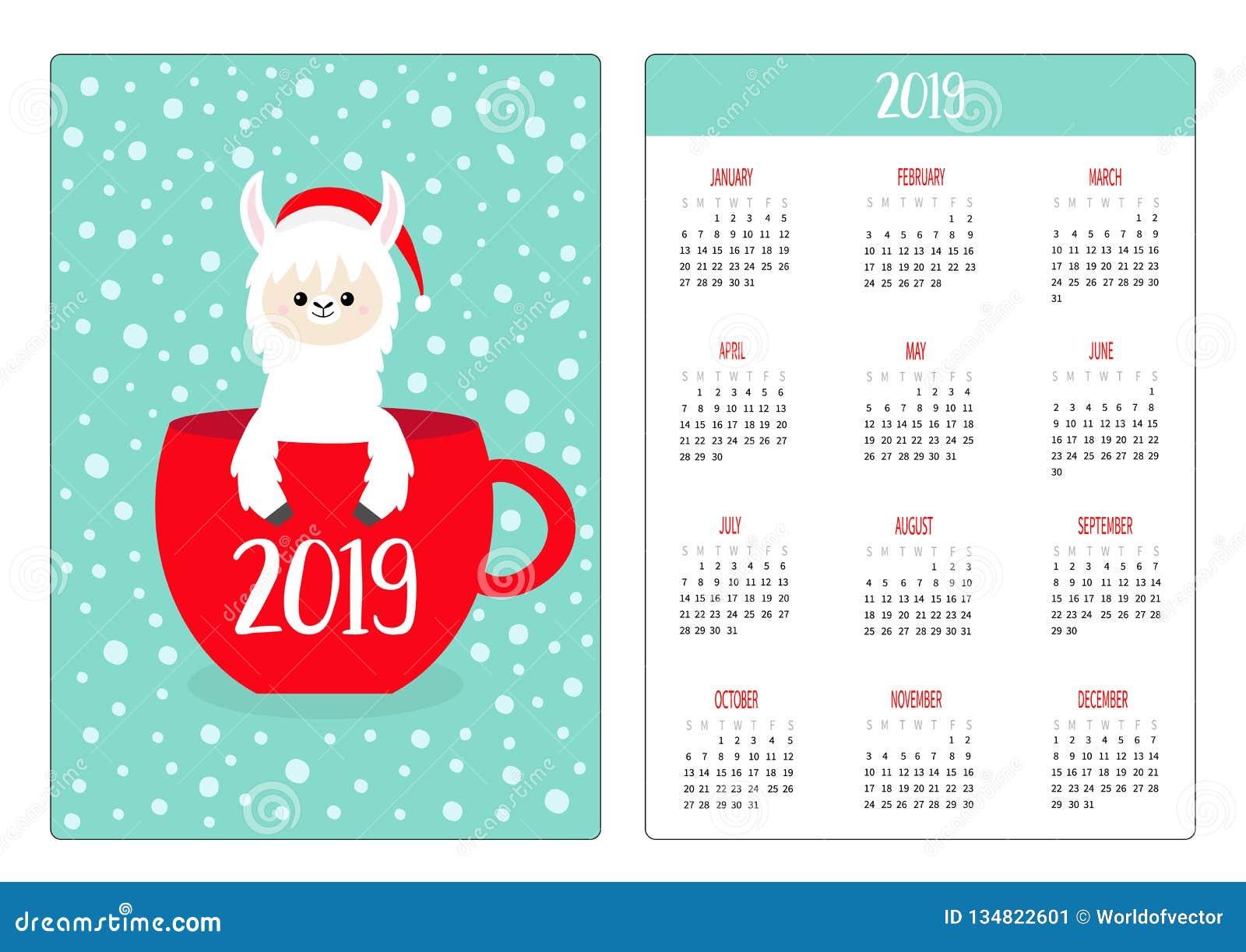 61c5f3dba7db Coffee tea cup. Santa hat. Pocket calendar layout 2019 new year. Vertical  orientation. Week starts Sunday.