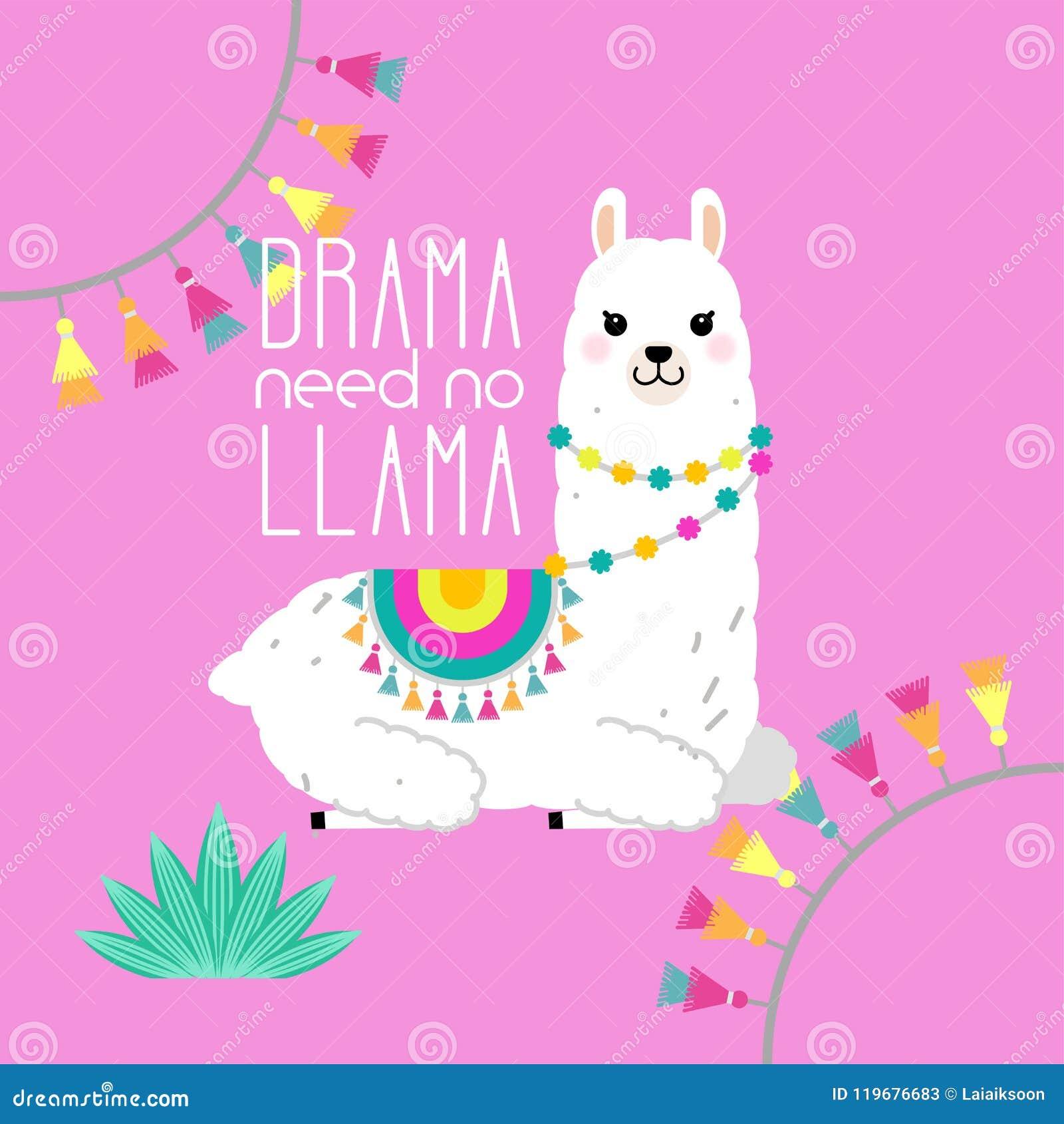 Cute Llama And Alpaca Illustration For Nursery Design