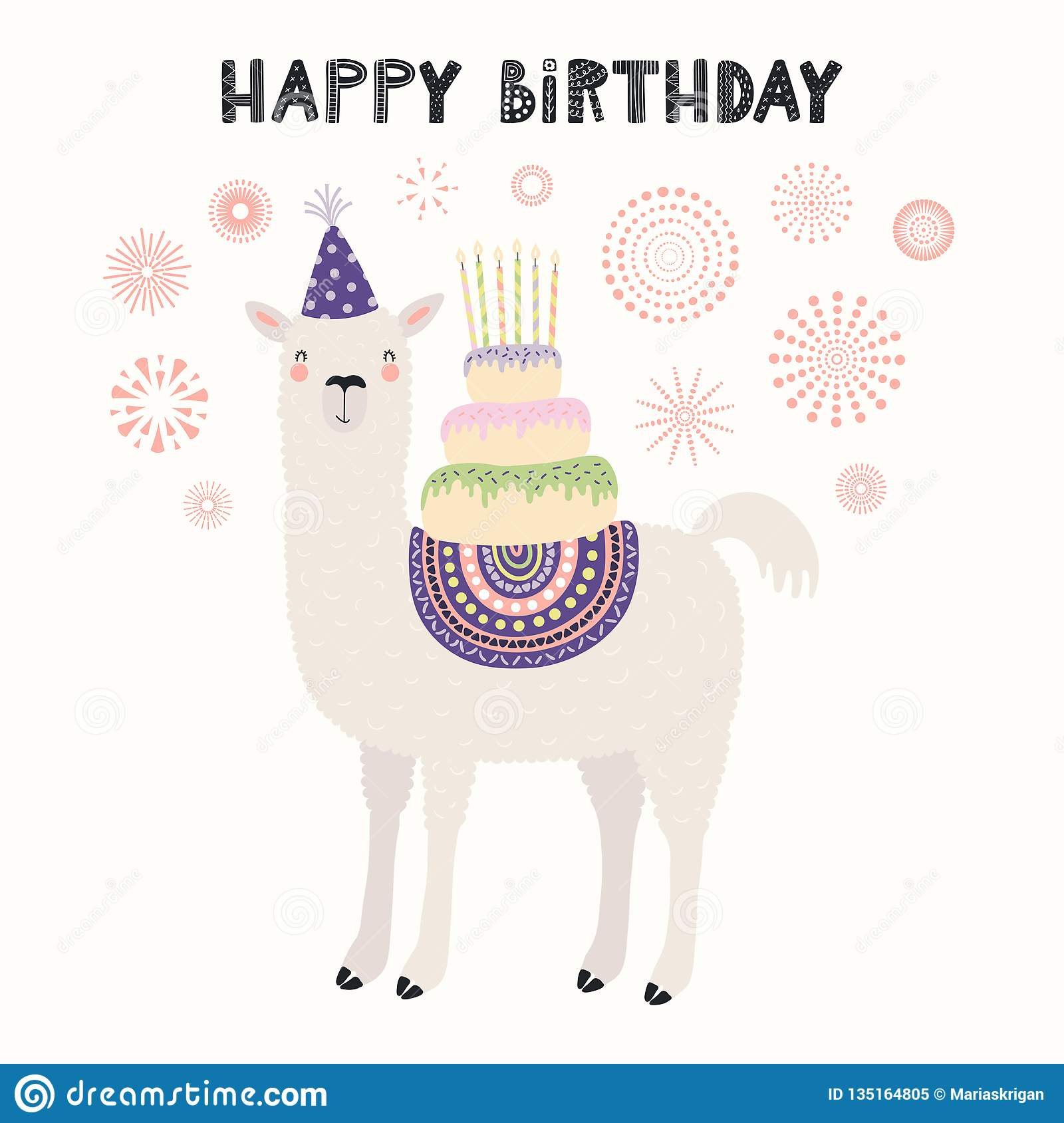 Hand Drawn Card With Cute Llama In A Party Hat Carrying Cake Candles Fireworks Text Happy Birthday Vector Illustration