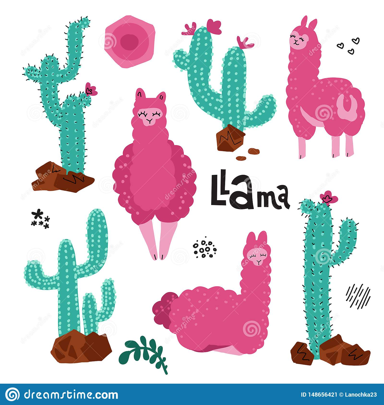 Cute llama set for design. Tree alpacas.with many Cacti plant Childish print for cards and nursery decoration.Vector Illustration