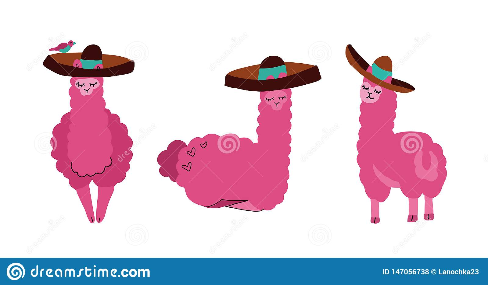 Cute llamas and alpacas set in sombrero. Funny smiling animals isolated on white background. Hand drawn llama character