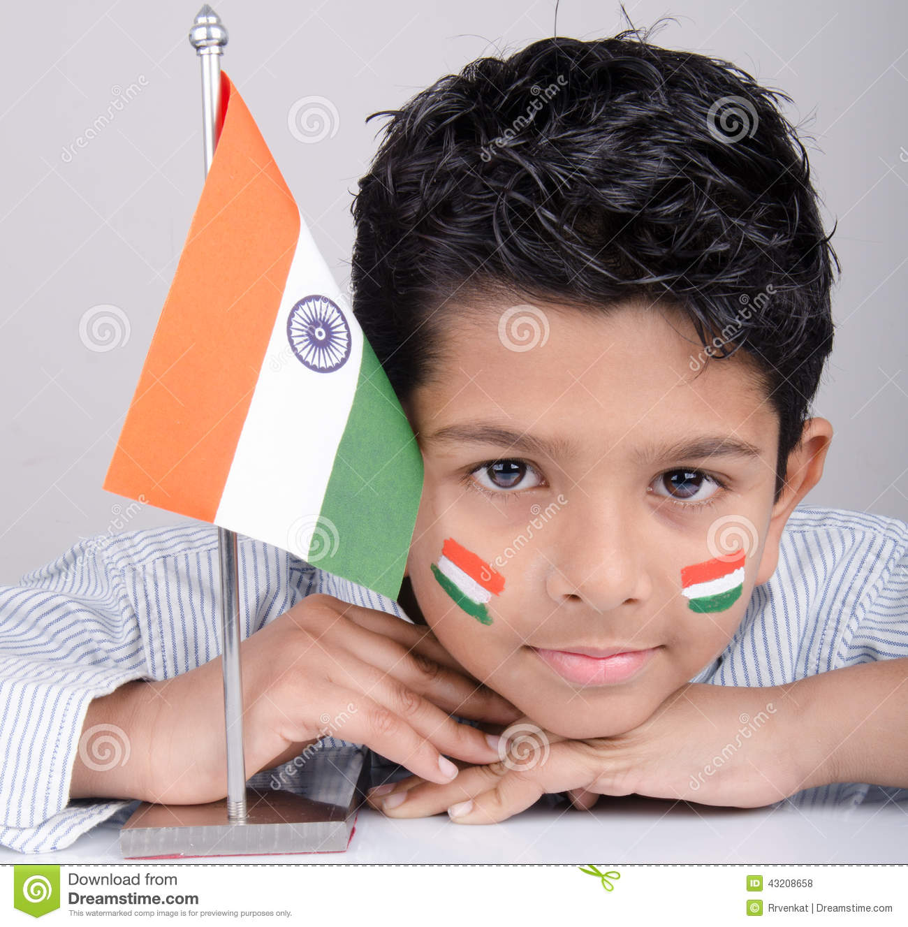 Cute Looking Indian Kid With Indian Flag Stock Photo ...