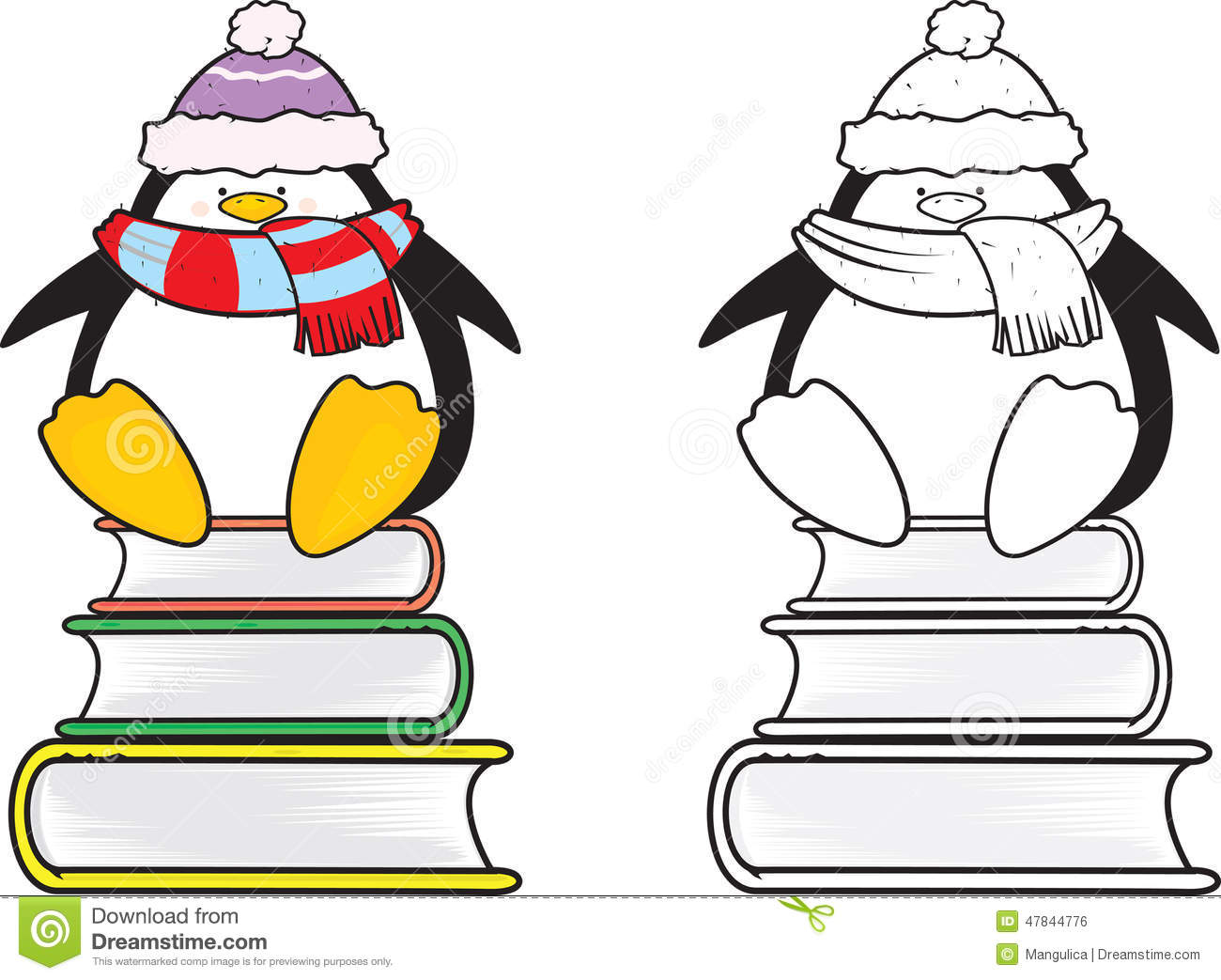 Cute Looking School Penguin Coloring Book Stock Vector