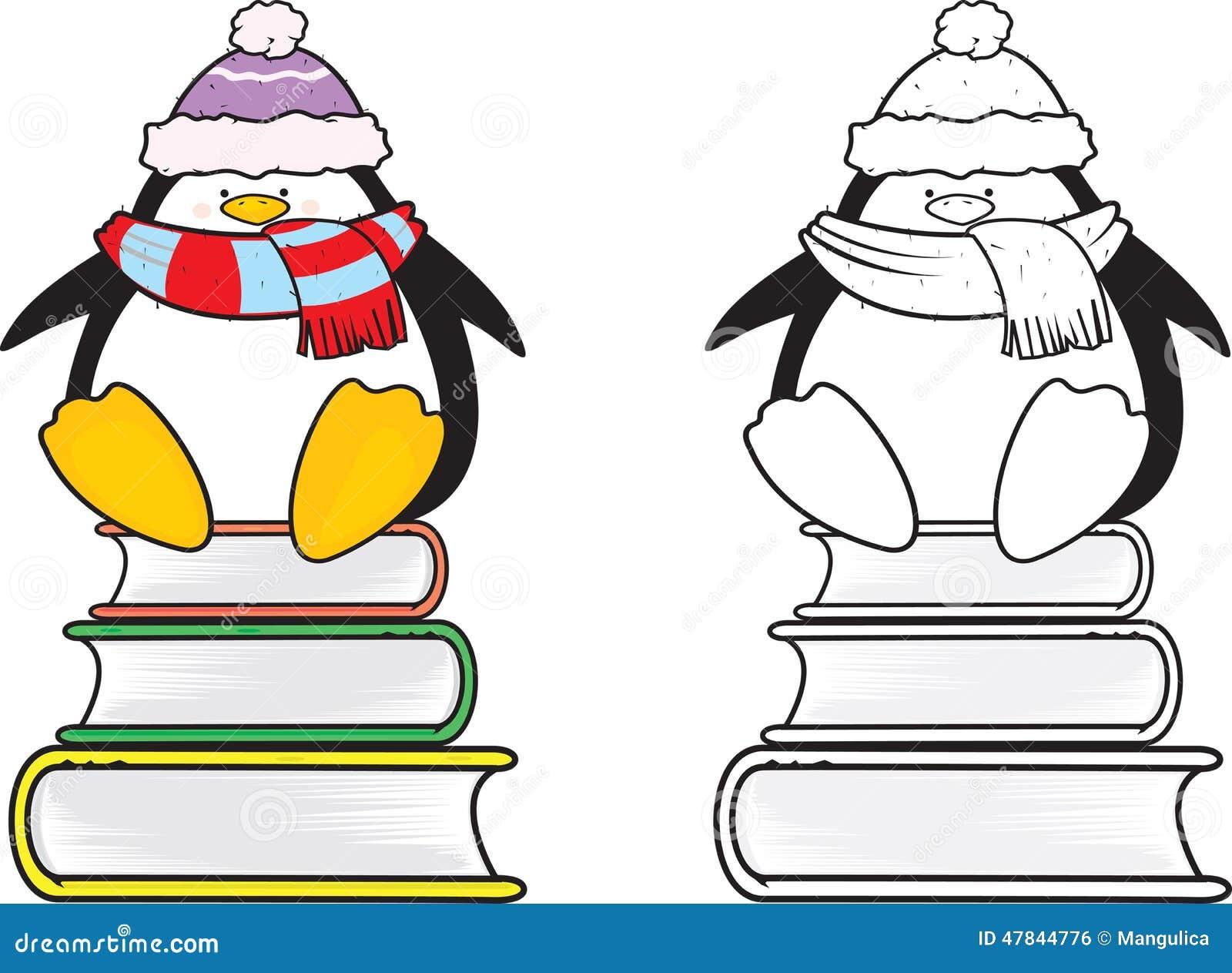 Cute Looking School Penguin Coloring Book