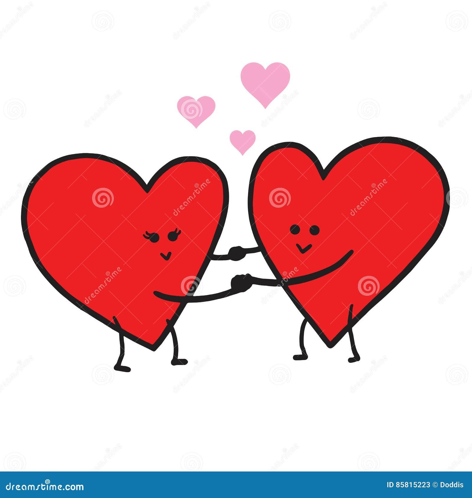 Cute Love Cartoon In Love Vector Illustration. Valentine ...