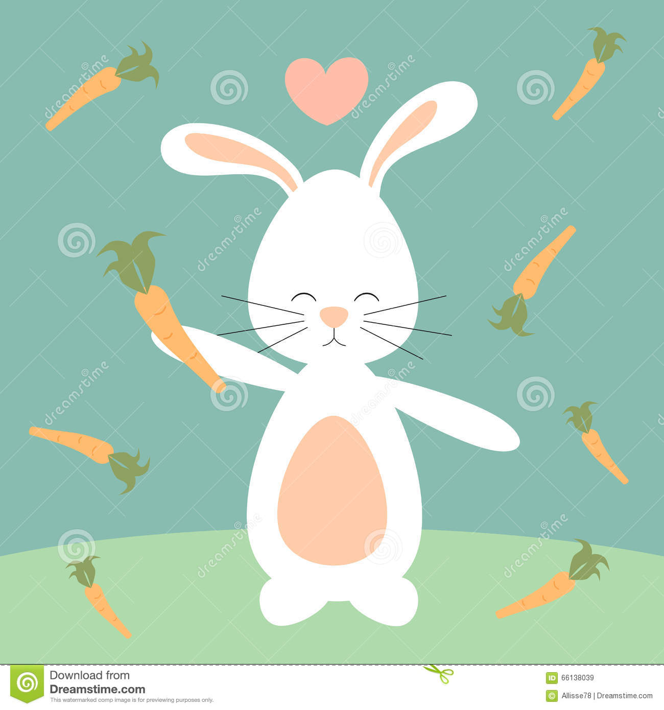 Stock Illustration Cute Lovely Cartoon Bunny Rabbit Carrots Funny Illu...