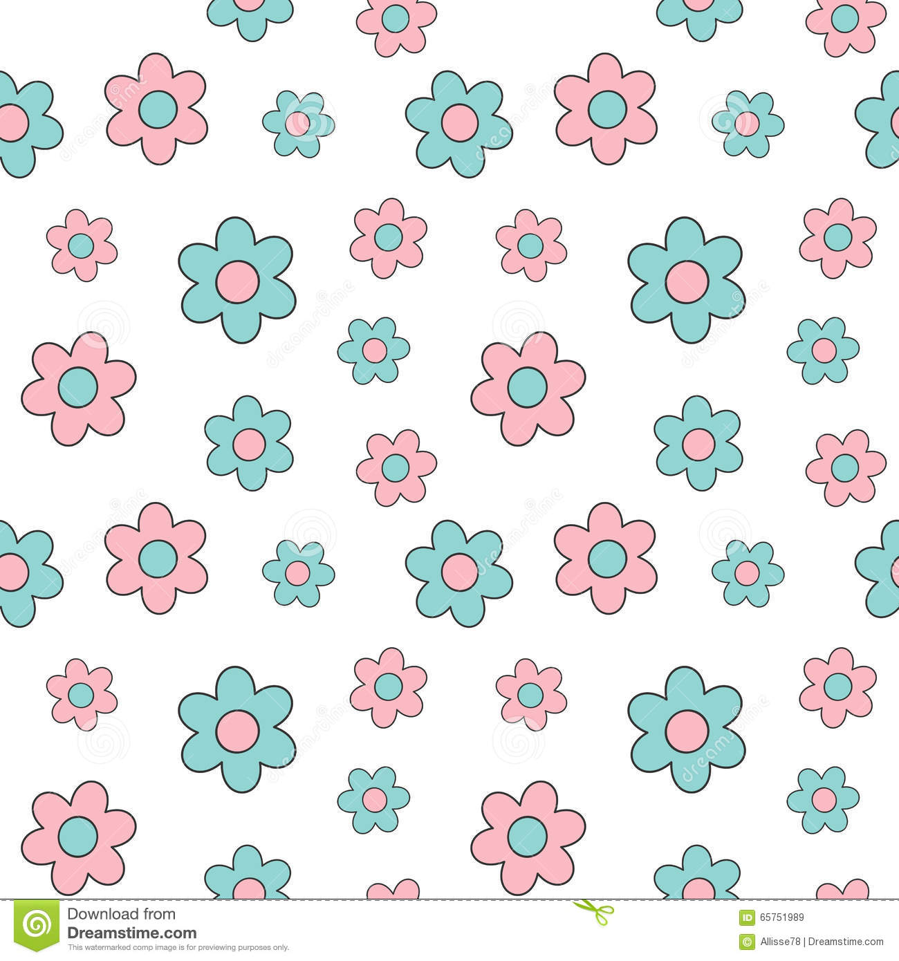 Cute Lovely Pink And Blue Cartoon Daisy Flowers Seamless