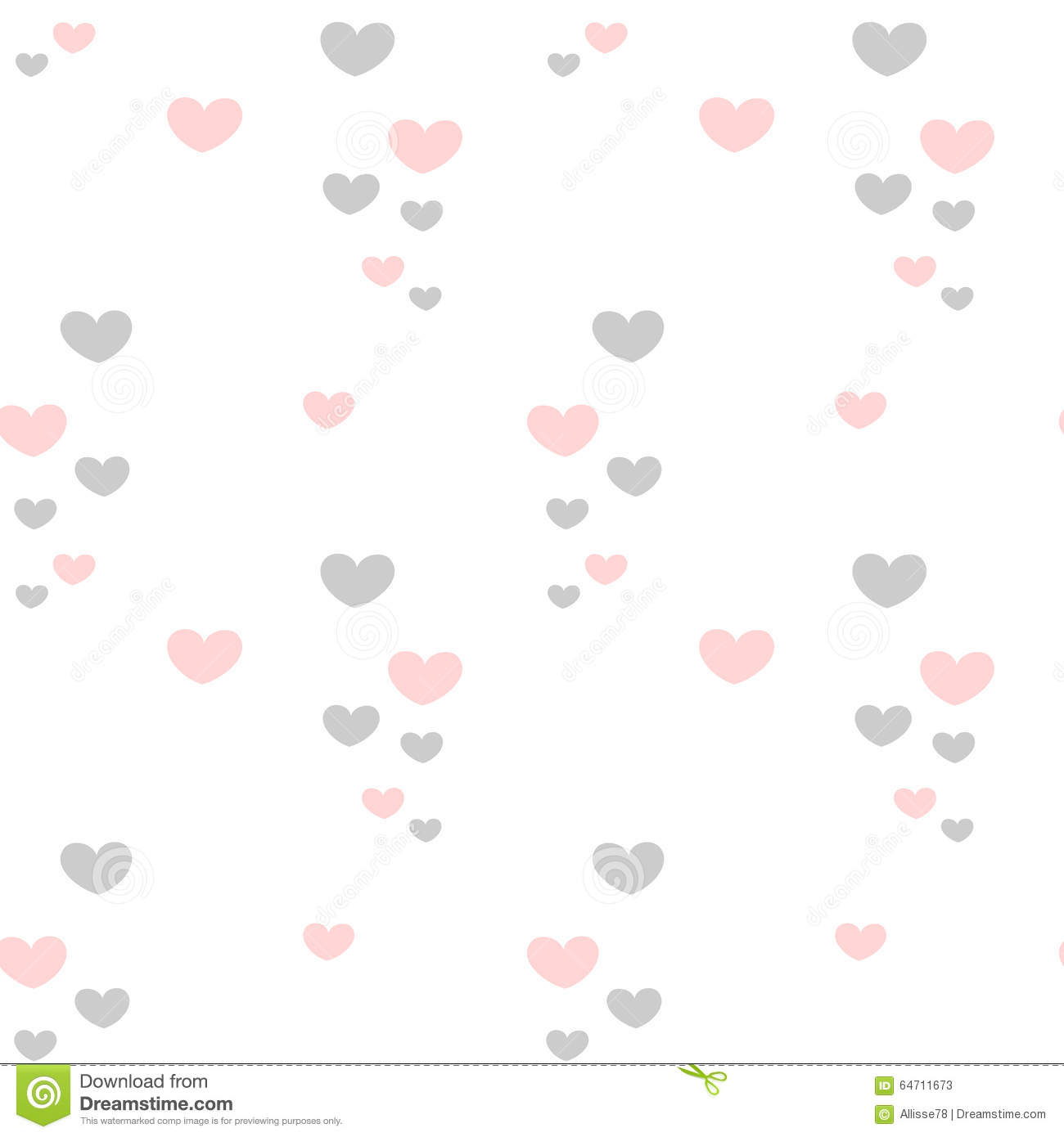 cute lovely romantic pink and grey hearts on white background
