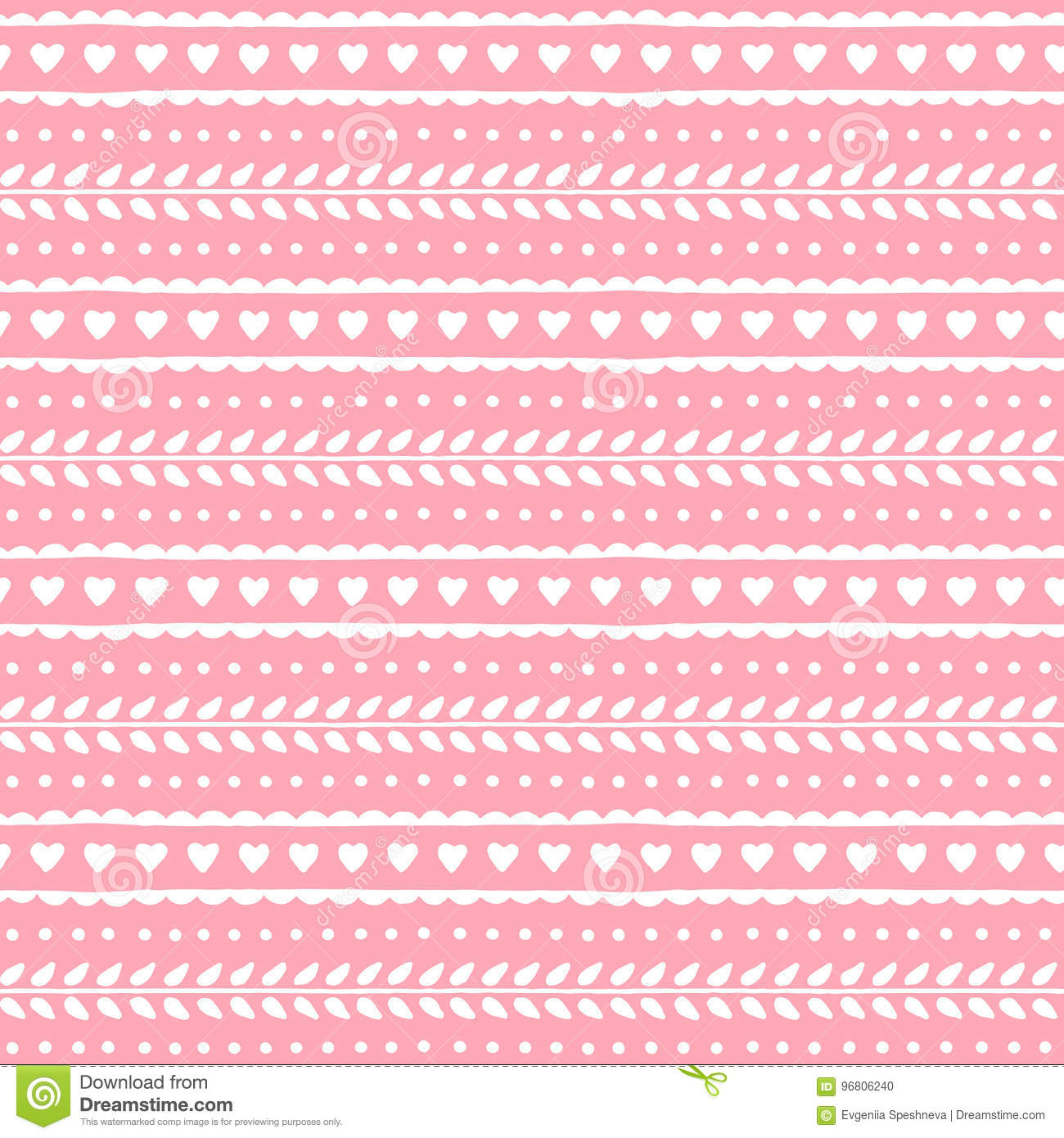 Cute lovely seamless pattern for valentine or wedding design. Hearts and leaves on soft pink background. Vector texture.