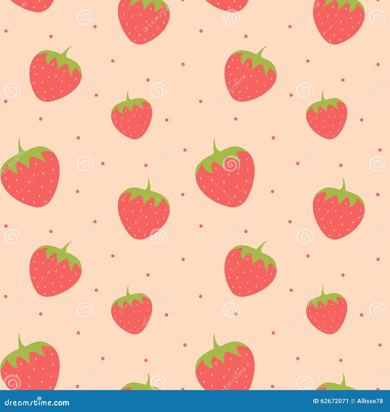 Stock Illustration Cute Lovely Strawberry Seamless Pattern Background ...