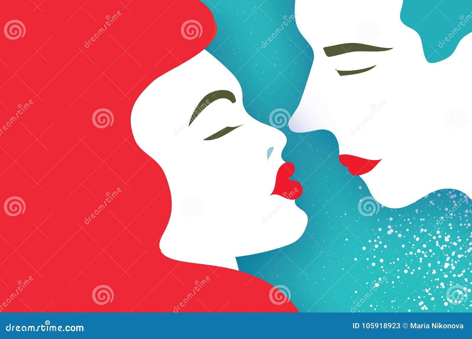 Cute Loving Couple. Kissing. People Profile. Beautiful Man And ...