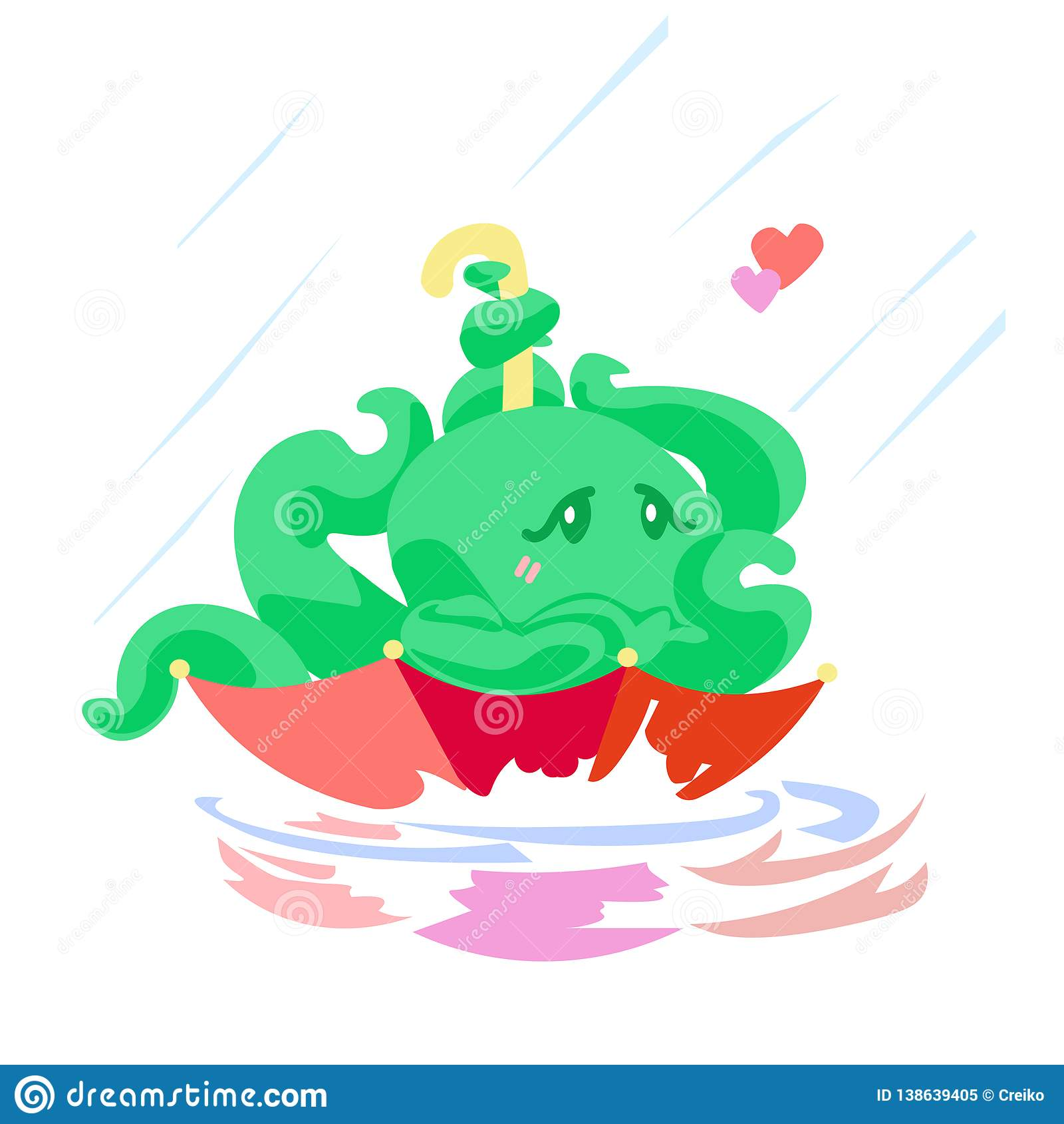 Cute cartoon valentine`s card octopus character in umbrella under rain animal Illustration