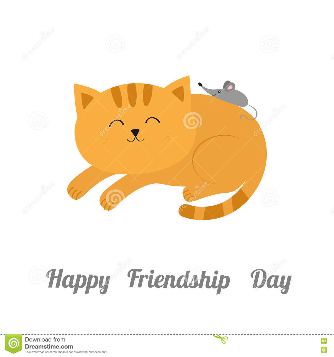Cute lying sleeping orange cat with moustache whisker. Little mouse. Animal friends. Funny cartoon character couple