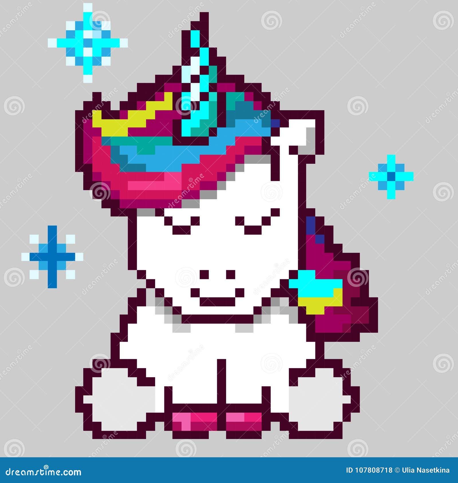 One Line Pixel Art : Cute magic unicorn pixel art editorial stock photo